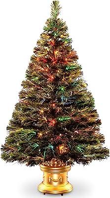 National Tree 48 Inch Fiber Optic Radiance Fireworks Tree with LED Lights in Gold Base (SZRX7-100L-48)