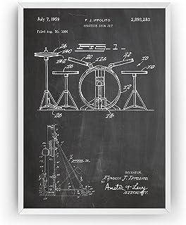 Kit de batería 1959 Poster de Patente - Drum Kit Set Patent Póster Con Diseños Patentes Decoracion de Hogar Inventos Carte...