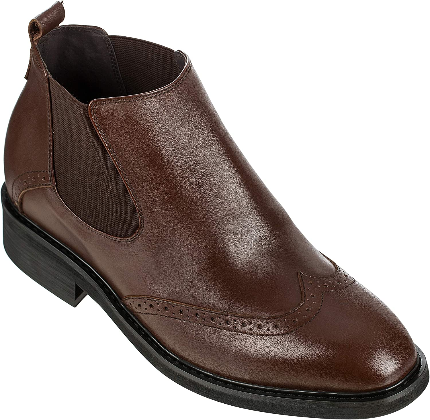 Calden Men's Invisible Height Increasing Elevator shoes - Dark Brown Leather Slip-on Wing-tip Chelsea Boots - 3 Inches Taller - K288021