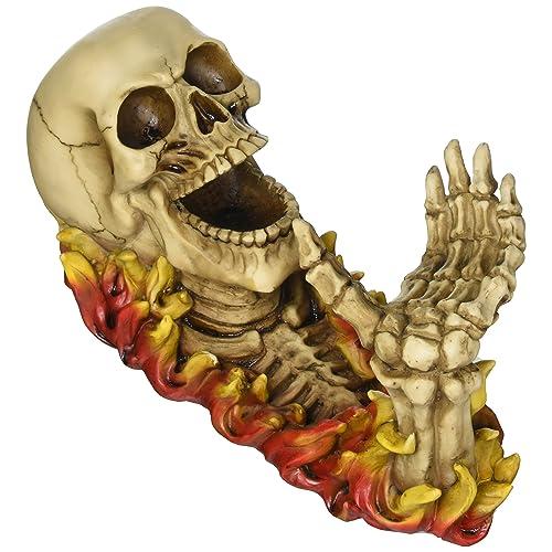 Koehler Home Kitchen Decorative Gift Flaming Skeleton Skull Figurine Wine Bottle Holder