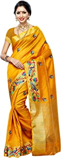 MIMOSA Women'STassar Silk Saree with Hand Embroidery Color: Gold(3220-2085-EMB-GLD)