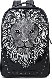 Berchirly Personalized Casual Laptop Backpack 3D Lionhead Studded PU Leather SchoolBag