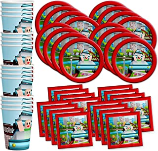 Robot Blocks Party Birthday Party Supplies Set Plates Napkins Cups Tableware Kit for 16