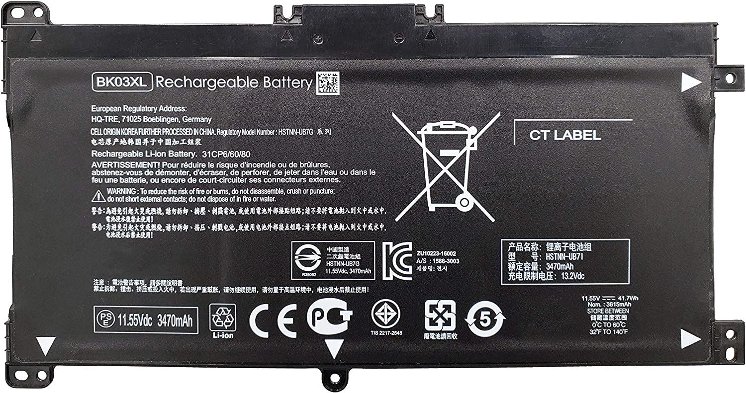 Columbus Mall Tinkerpal BK03XL 41.7WH 11.55V Replacement HP Oklahoma City Mall for Battery Laptop
