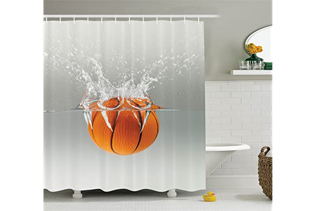 Ambesonne Sports Decor Collection Falling Basketball Into Water Leisure National Sport Activity Entertaining Image Polyester Fabric Bathroom Shower