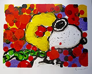 """Leos Coffers Artwork by Tom Everhart Synchronize My Boogie Evening Hand Signed Lithograph Print. After The Original Painting or Drawing. Snoopy Peanuts Measures 28"""" X 34."""""""