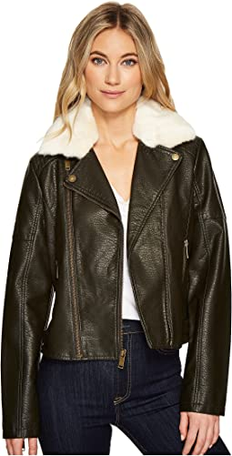 Faux Leather Moto Jacket with Shearling Collar