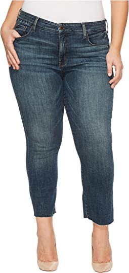 Plus Size Marilyn Ankle Jeans with Raw Hem in Crosshatch Denim in Desert Gold