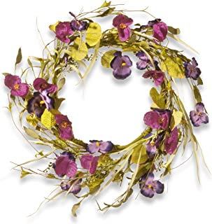National Tree 22 Inch Floral Wreath with Purple Poppy and Pansy Flowers (RAS-JXW9483)