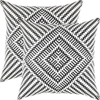 TreeWool Decorative Square Throw Pillowcases Set Kaleidoscope Accent 100% Cotton Cushion Cases Pillow Covers (18 x 18 Inches / 45 x 45 cm; Black & White) - Pack of 2