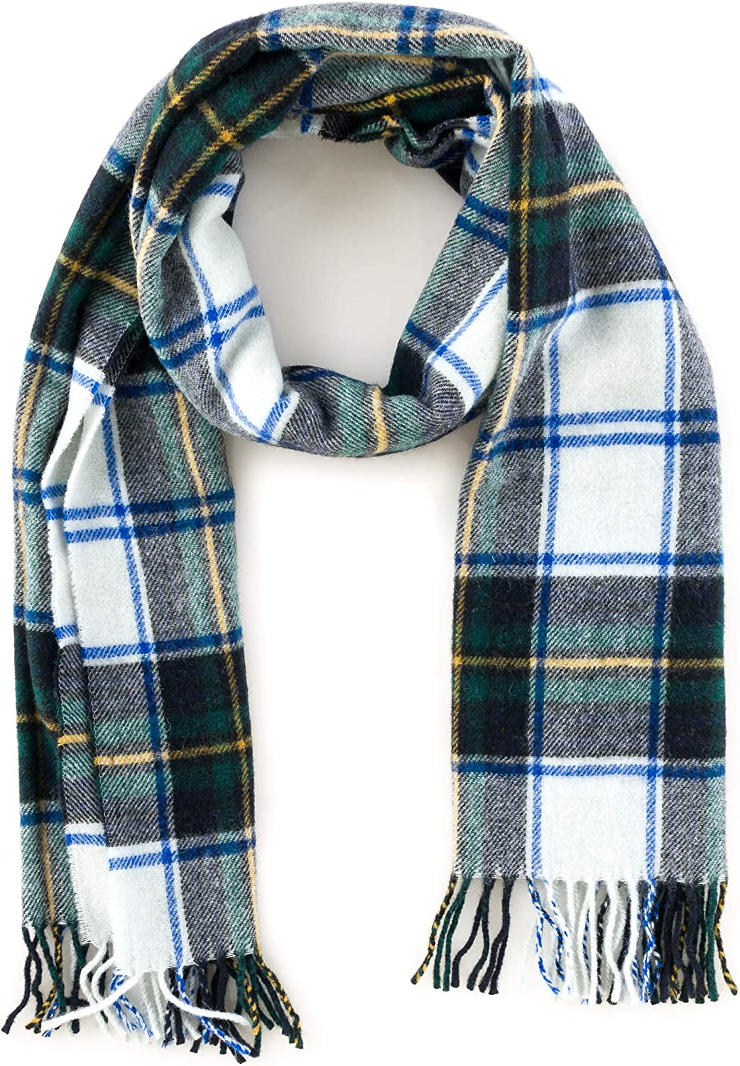 Angiola Made in  Women Wool Tartan Plaid Scarf Wrap Soft Warm Comfy