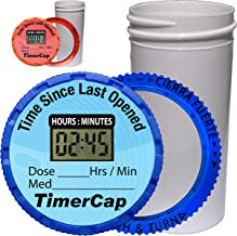 TimerCap Automatically Displays Time Since Last Opened - Built-in Stopwatch Smart Pill Bottle Cap Medication Reminder Case (Qty 2 - Standard 1.8 oz White Opaque Bottles) EZ -Twist/CRC