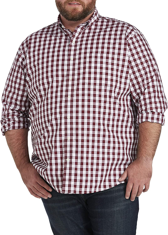 Oak Hill by DXL Big and Tall Medium Plaid Dobby Sport Shirt, Roan Rouge Red