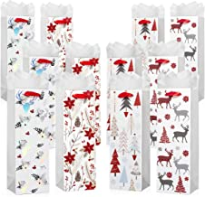 12 Pack of Wine Bottle Gift Bags - Includes White Tissue Paper - for Christmas and Holiday Present Wrapping (White & Red Christmas)