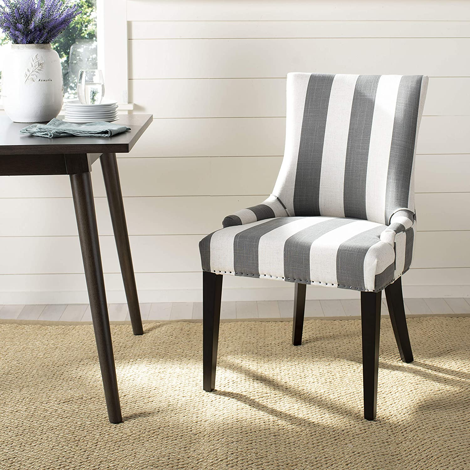 Safavieh Mercer Collection Limited time sale Eva and Chair Striped Selling rankings wi White Dining