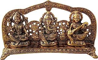 Charmy Crafts White Gold Metal Laxmi Ganesh Saraswati Handcrafted Showpiece for Home Decor Gift Item
