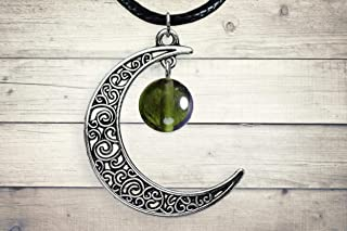 Authentic Moldavite Silver Celtic Moon Pendant Czech Jewelry, Green Tektite Necklace with Certificate of Authenticity