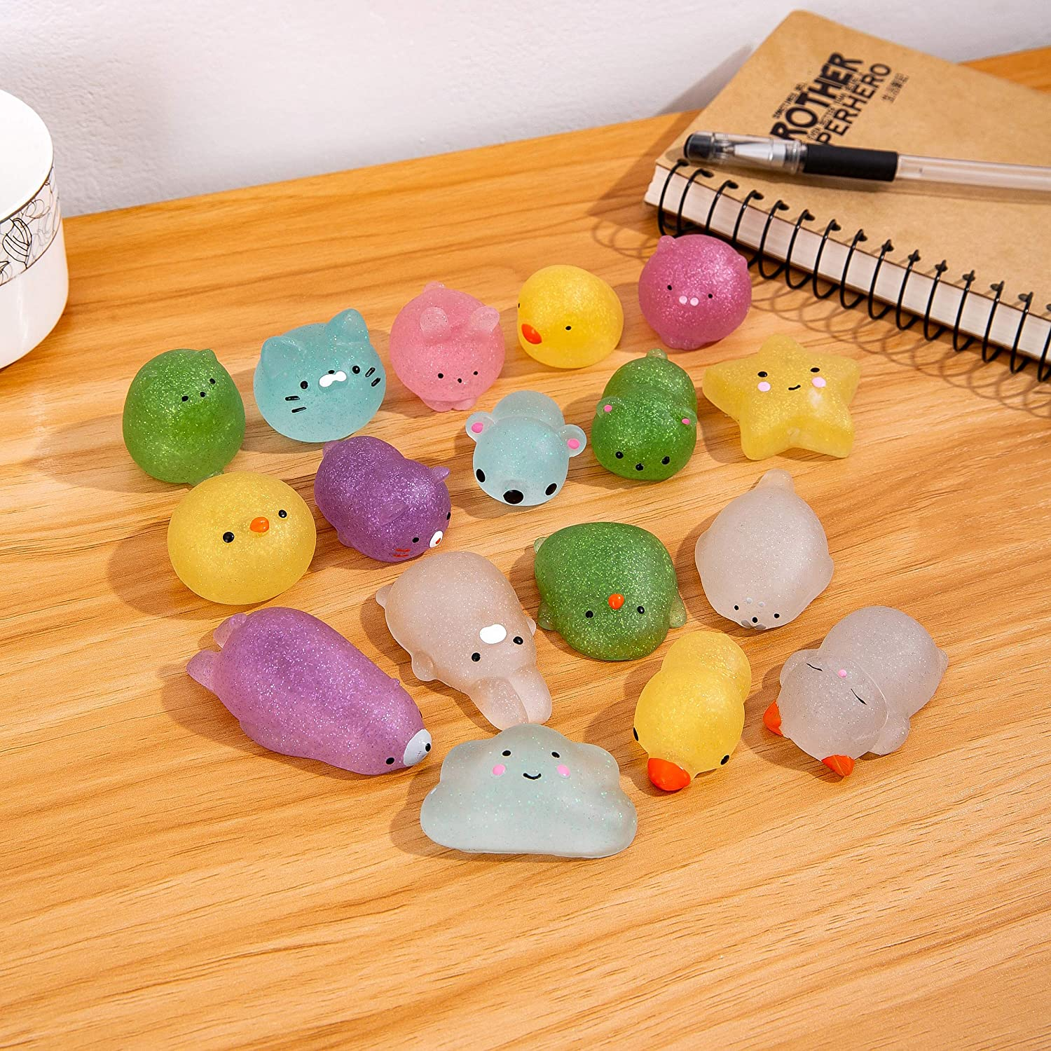 Office Toy Mochi Glitter Squishy Animal Toys Sensory Input Stress Relief and Concentration Calming Desk Accessories Autism Sensory Toys Christmas Stocking Stuffers
