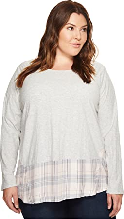 Plus Size Long Sleeve Mixed Media Plaid Daydream Top