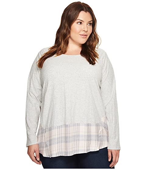 21236418ac0 TWO by Vince Camuto Plus Size Long Sleeve Mixed Media Plaid Daydream ...