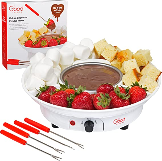 Chocolate Fondue Maker- Deluxe Electric Dessert Fountain Fondu Pot Set with 4 Forks and Party Serving Tray - Makes A Valentines Day Great Gift!