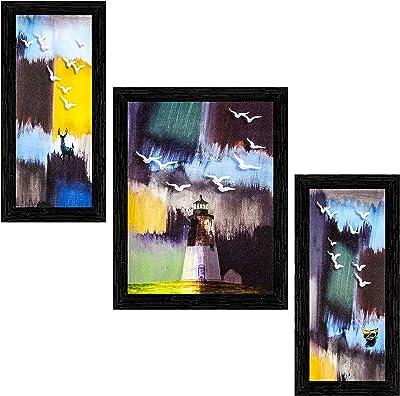 Indianara Set of 3 Modern Art Painting (3183BK) without glass 6 X 13, 10.2 X 13, 6 X 13 INCH