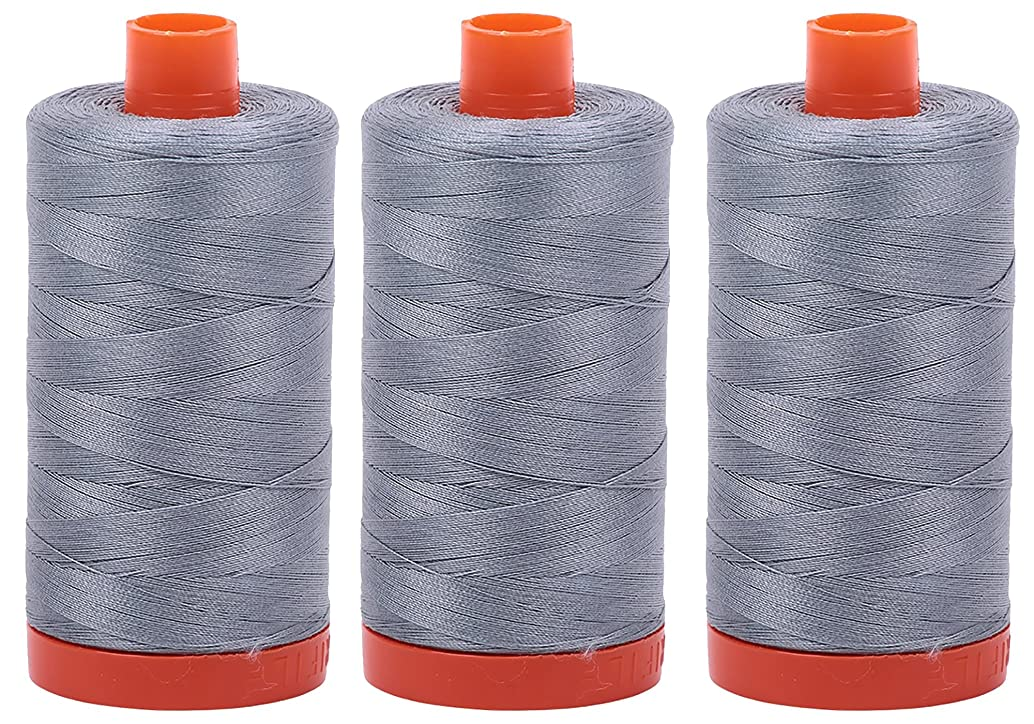 Bundle of 3 Large 1422 Yard Spools of Aurifil 50wt Egyptian Cotton Thread, Color: Light Blue Grey, No. A1050-2610