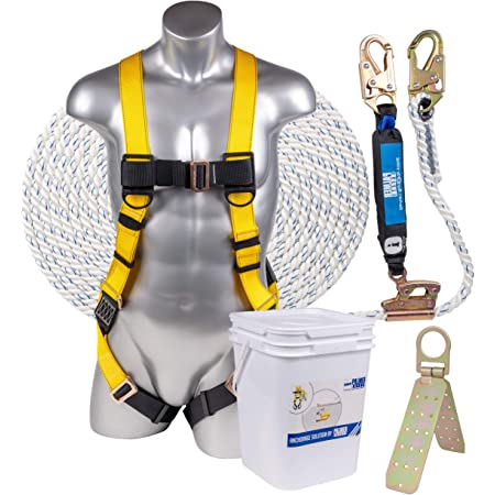 50 Palmer Safety Fall Protection Vertical Lifeline Assembly OSHA//ANSI Compliant Fall Arrest Kit 50 foot w//Removable Robe Grab