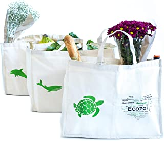 Ecozoi EXTRA LARGE Reusable Organic Cotton Grocery Bags with 6 ORGANIZER POCKETS - SET OF 3 Reusable Shopping Bags   Collapsible, Washable, Eco-Friendly, Comes in Sustainable Packaging   Produce Bags
