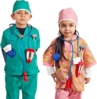 Dress up Set of 2 Doctor and Nurse Costumes with 14 Accessories Green Pink