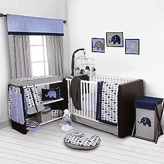 Bacati - Elephants Blue/Grey 10-Piece Nursery in a Bag Boys Crib Baby Bedding Set with 2 crib sheets 100% Cotton fabrics