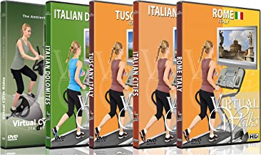 5 Disc Set DVD Italian Combo Pack - Virtual Walks and Cycle Videos of Italy for Indoor Walking Workout or Cycling Rides