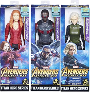 Avengers High-Flying Hero Marvel Infinity War Team Up Bundled with Black Widow Power FX + Scarlet Witch + Falcon Titan 12