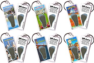 "product image for San Francisco""FootWhere"" Souvenir Keychains. 6 Piece Set. Made in USA"