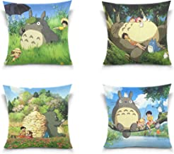 GodVshop Totoro Throw Pillow Covers Soft Plush Set of 4 Decorative Square Pillowcase Cushion Cover for Sofa Bedroom Car (18