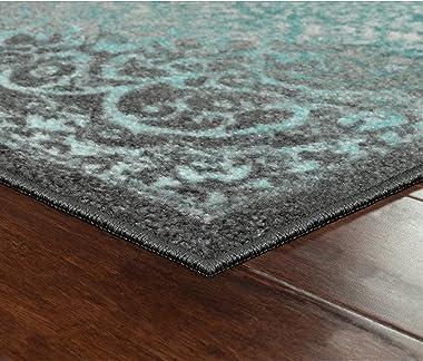 Pelham Vintage Runner Rug Non Slip Washable Hallway Entry Carpet [Made in USA], 2 x 6, Grey/Blue