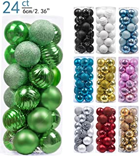 Valery Madelyn 24ct 60mm Essential Green Basic Ball Shatterproof Christmas Ball Ornaments Decoration,Themed with Tree Skirt(Not Included)