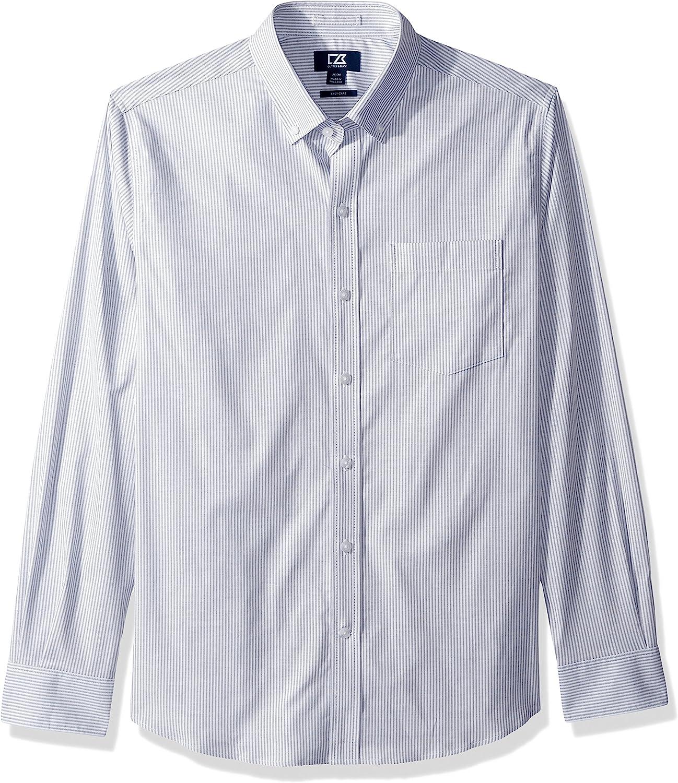 Cutter & Buck mens Epic Easy Care Stretch Oxford Stripe Button Down Shirt