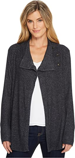 B Collection by Bobeau - Button Collar Cozy Cardigan