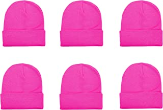 Unisex Knitted Winter Beanie Hat 6 Pcs