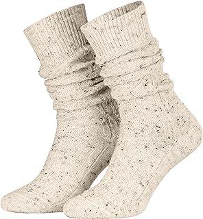 Piarini 1 Paar Schoppersocken Trachtensocken Herren Damen kurz - Zopfmuster handgekettelte Spitze Wolle - beige 35-38 39-42 43-46 47-50