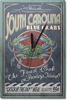 Lantern Press Pawleys Island, South Carolina - Blue Crabs Vintage Sign (10x15 Wood Wall Clock, Decor Ready to Hang)