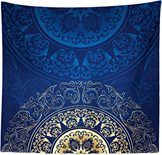Lunarable Royal Blue Tapestry Queen Size, Vintage Eastern Circular Floral Old Fashioned Design, Wall Hanging Bedspread Bed Cover Wall Decor, 88