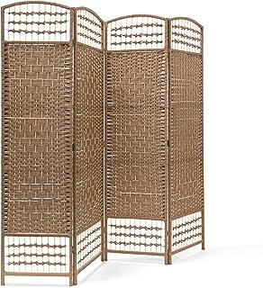 Relaxdays Paravent 4 panneaux bambou pliable protège de la lumière séparateur pièce pliant cloison mur HLP 179 x 180 x 2 c...