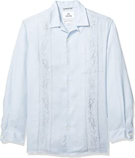 Marca Amazon - 28 Palms – Camisa guayabera bordada de