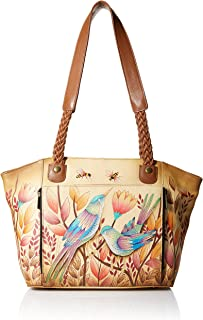 Hand Painted Leather Women's East WEST Organizer Tote