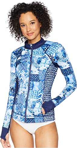 Active Patchwork Zip Jacket Cover-Up