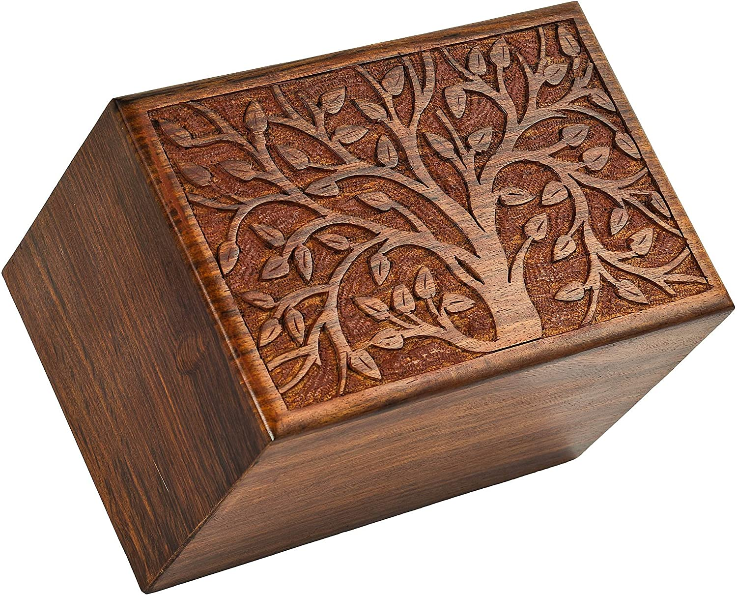 Fine Craft India Tree Printed Beautifully Handmade & Handcrafted Tree of Life Engrcaving Wooden Urns for Human Ashes Size  9 x 6 x 6 Inh (LxBxH) 1060 Gram -Weight