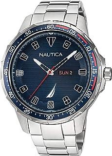 ساعة نوتيكا للرجال كوارتز بسوار ستانلس ستيل، فضي، 22 كاجوال موديل NAPCLS120