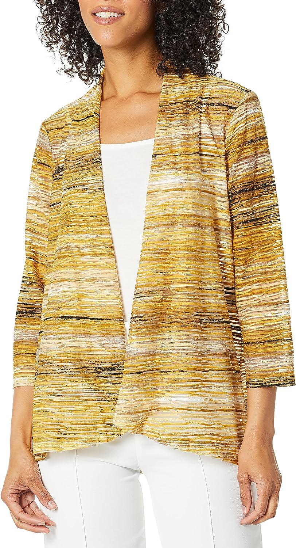 Kasper Women's Long Sleeve High Low Knit Jacquard Cardigan